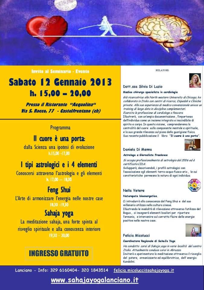 Locandina Seminario CUORE MENTE Castelfrentano 120113